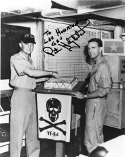 USS Independence - CVA 62, VF84 7/30/1965 Centurian Cake Cutting LCdr Stan Olmstead (left) Ens Porter Halyburton (right) Photo before shoot down.